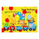 Boy First Birthday 1st Train Photo Zoo Animals Announcement