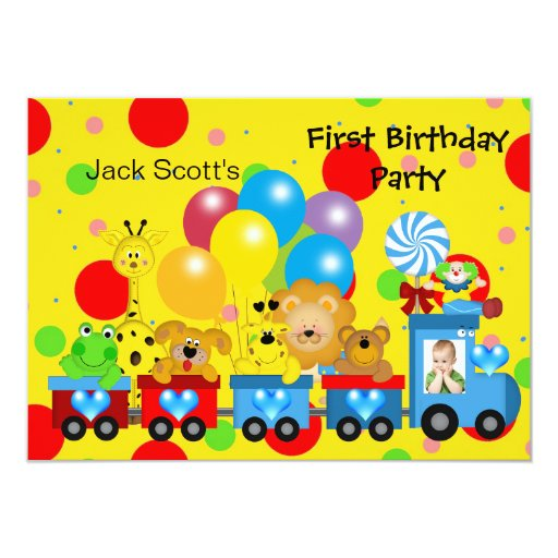 "Boy First Birthday 1st Train Photo Zoo Animals 4.5"" X 6.25"" Invitation Card"