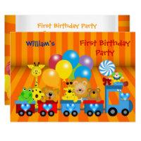 Zoo invitations announcements zazzle boy first birthday 1st train zoo animals party stopboris Choice Image