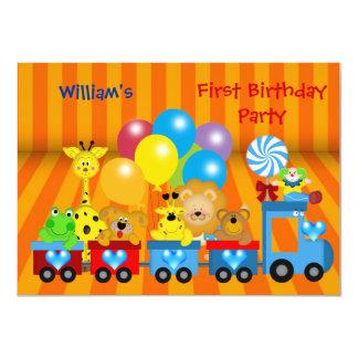 Boy First Birthday 1st Train Zoo Animals Party Card