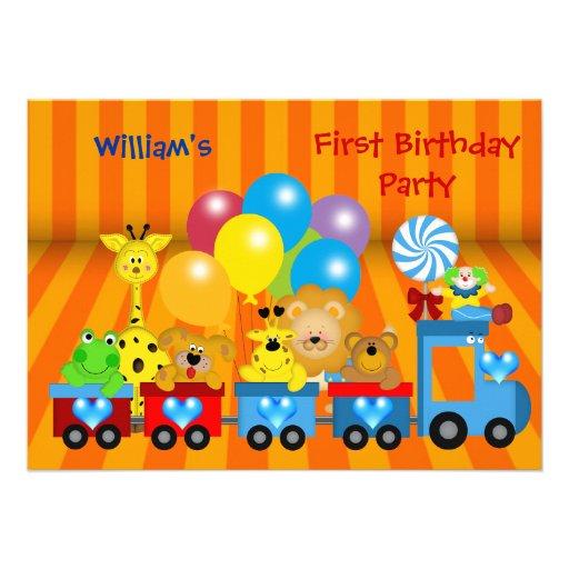 Boy First Birthday 1st Train Zoo Animals Party Custom Announcement