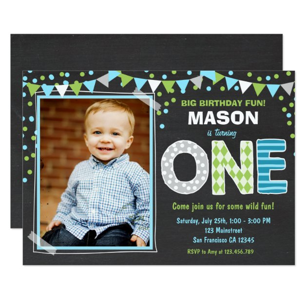 First Birthday Party Invitation Boy Chalkboard: 1st Birthday Party Invitations For New Baby