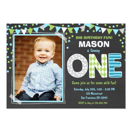 First Birthday Party Invitation Boy Chalkboard: Modern Cute Baby Boy 1st Birthday Invitations & Party Ideas