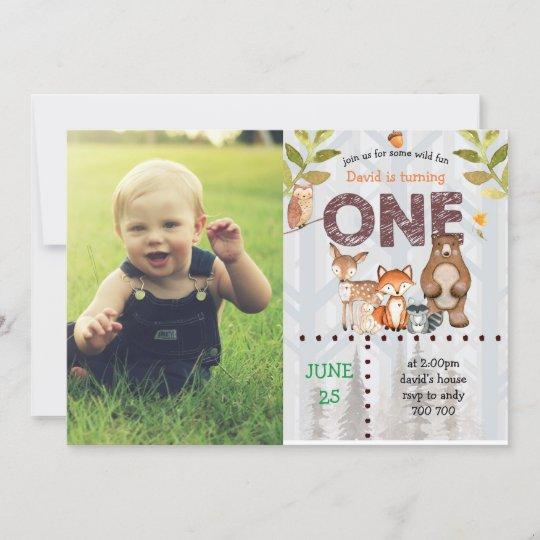 Boy First Birthday Custom Photo Woodland Wild One Invitation