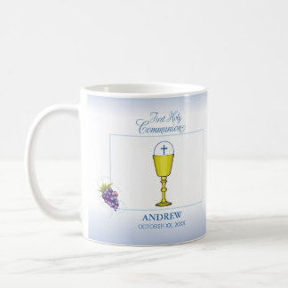 Boy First Communion, Chalice with Host and Grapes Coffee Mug