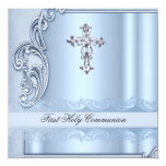 "Boy First Holy Communion Blue Confirmation 5.25"" Square Invitation Card"