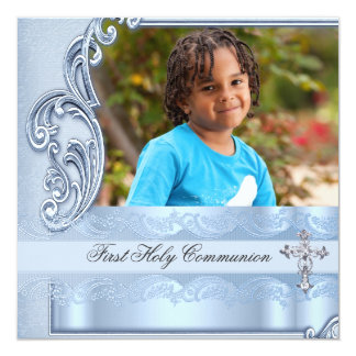 Boy First Holy Communion Blue Photo Confirmation Card