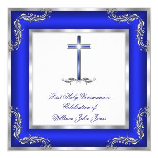 Boy First Holy Communion Royal Blue Silver White Card