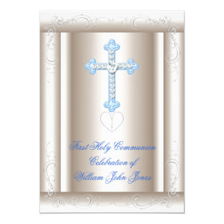 Boy First Holy Communion Sepia Blue Card