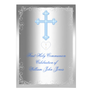 Boy First Holy Communion Silver Blue 5x7 Paper Invitation Card
