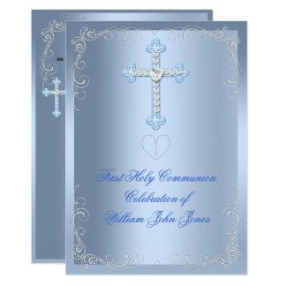 Boy First Holy Communion Silver Blue Card