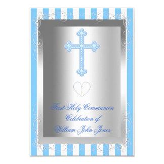 Boy First Holy Communion Silver Blue Stripe Card