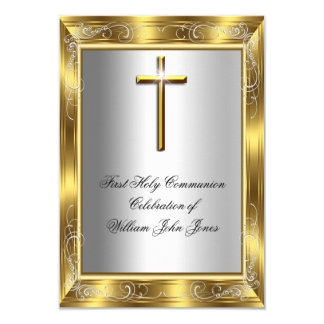Boy First Holy Communion Silver Gold Cross 2 Card