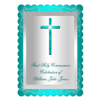 Boy First Holy Communion Silver Jade Teal 2 Card