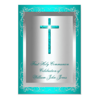 Boy First Holy Communion Silver Jade Teal Card