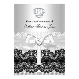 Boy First Holy Communion Silver Jewel Cross Card