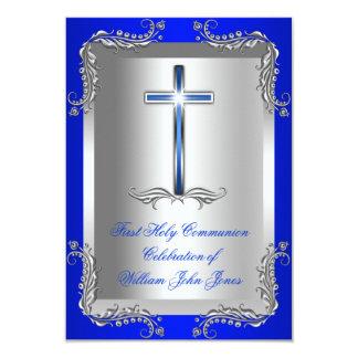 Boy First Holy Communion Silver Royal Blue 2 Card