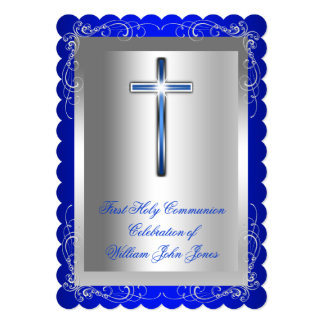 Boy First Holy Communion Silver Royal Blue 2s Card