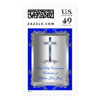 Boy First Holy Communion Silver Royal Blue 2T Stamp