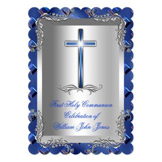 Boy First Holy Communion Silver Royal Blue 2TS Card
