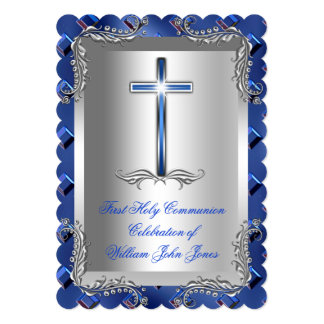 Boy First Holy Communion Silver Royal Blue 2TS 5x7 Paper Invitation Card