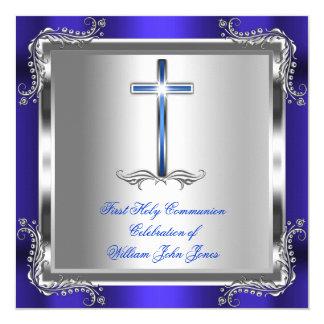 Boy First Holy Communion Silver Royal Blue 3b Card