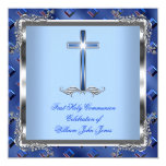 "Boy First Holy Communion Silver Royal Blue 4 5.25"" Square Invitation Card"