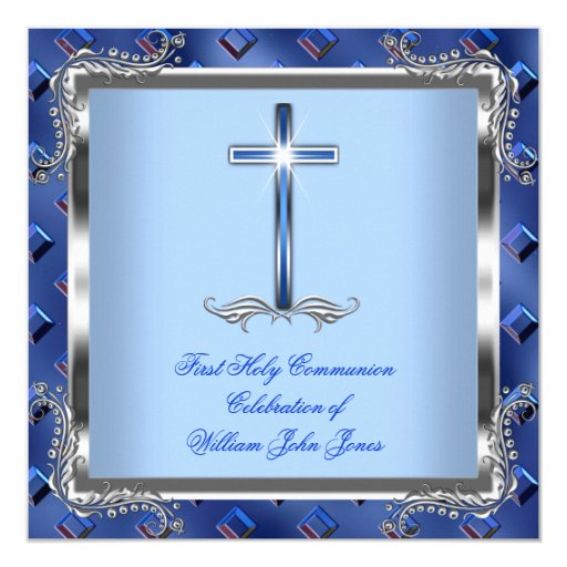Boy First Holy Communion Silver Royal Blue 4 Personalized Invites