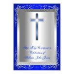 Boy First Holy Communion Silver Royal Blue 3.5x5 Paper Invitation Card