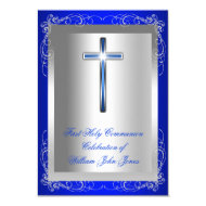 "Boy First Holy Communion Silver Royal Blue 3.5"" X 5"" Invitation Card"
