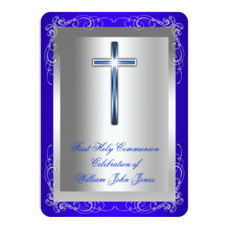 Boy First Holy Communion Silver Royal Blue Rounded Card