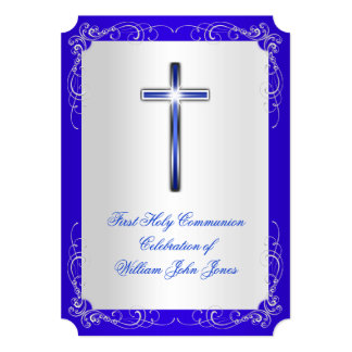 Boy First Holy Communion Silver Royal Blue T2 Card