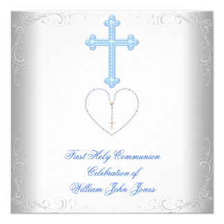 Boy First Holy Communion White Blue Card