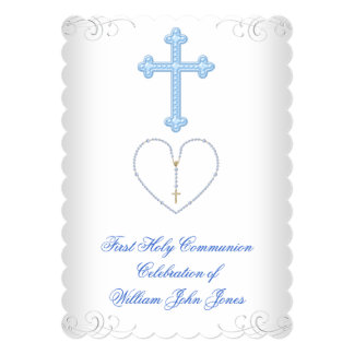 Boy First Holy Communion White Blue Silver Card
