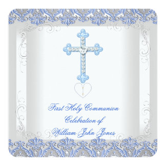 Boy First Holy Communion White Silver Blue Card