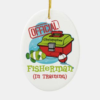 Boy Fisherman In Training Ceramic Ornament