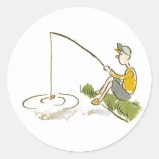 Boy Fishing Classic Round Sticker