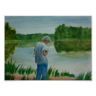 Boy Fishing Fisherman at the lake in summer Poster