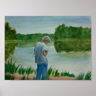 Boy Fishing Fisherman at the lake in summer Poster