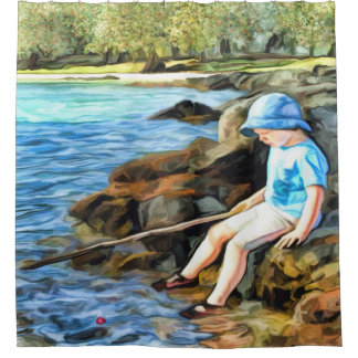 Boy fishing in a river shower curtain