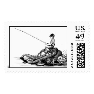 Boy Fishing   Postage