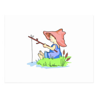 BOY FISHING POSTCARD