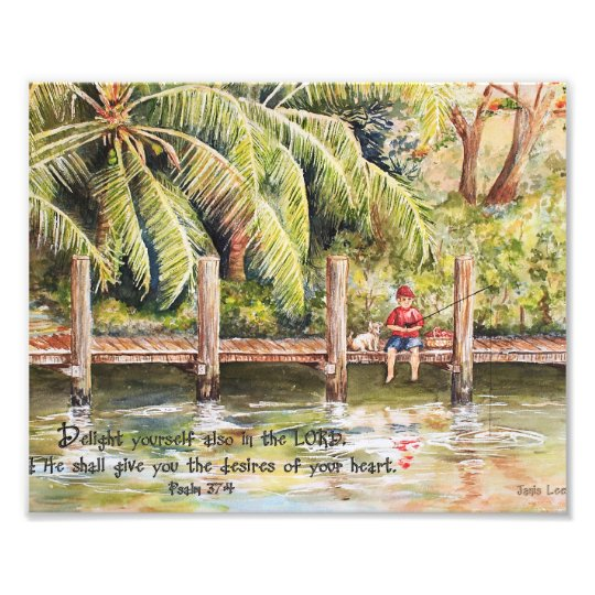 Boy Fishing with Dog Psalm 37:4 Photo Print