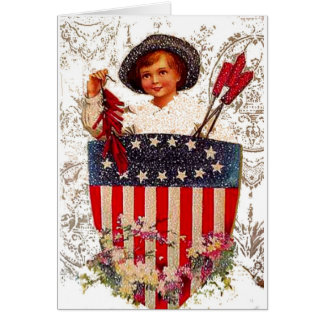 Boy Flag July 4th Patriotic Vintage Postcard Art Greeting Cards