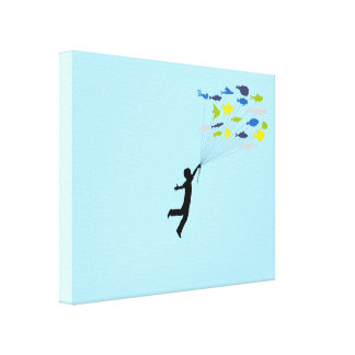 Boy Floating Away Holding Tropical Fish Balloons Gallery Wrap Canvas