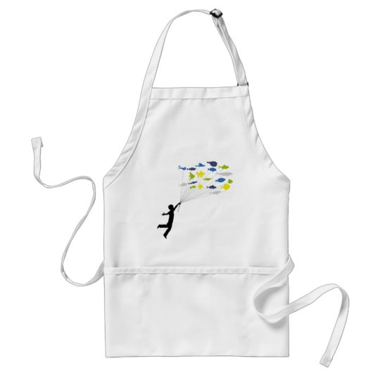 Boy Floating on Tropical Fish Balloons Adult Apron