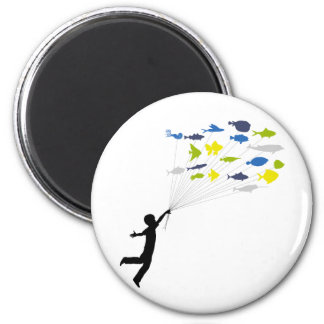 Boy Floating on Tropical Fish Balloons Magnet
