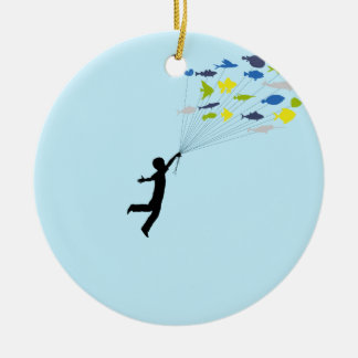 Boy Floating Tropical Fish Balloons Ceramic Ornament