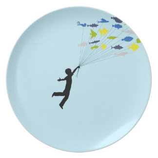 Boy Floating Tropical Fish Balloons Dinner Plate