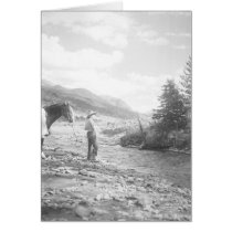 Boy fly fishing in a creek cards